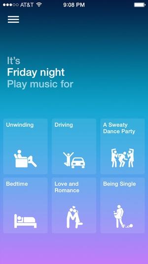 Screenshot Songza on iPhone
