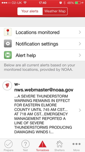 Screenshot Tornado by American Red Cross on iPhone
