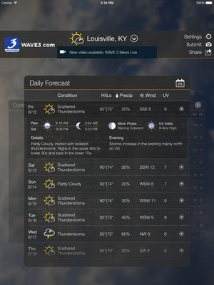 Screenshot WAVE 3 Louisville Weather on iPad