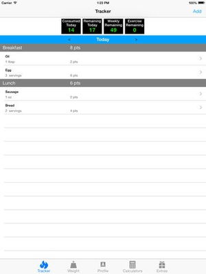 Screenshot Pts. Calculator With Weight and Exercise Tracker for Weight Loss on iPad