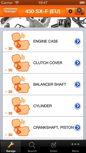 Screenshot KTM Assistant on iPhone