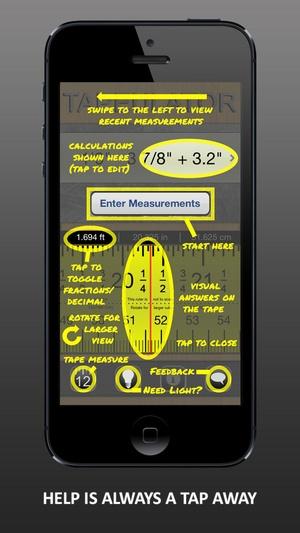 Screenshot Tapeulator: Tape Measure Calculator on iPhone