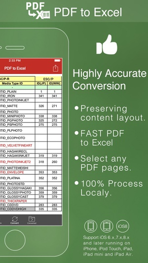 Screenshot PDF to Excel on iPhone