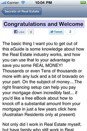 Screenshot Secrets of Real Estate on iPhone