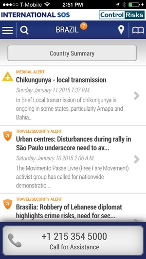 Screenshot International SOS Assistance App on iPhone