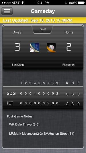 Screenshot Pittsburgh Baseball Live on iPhone