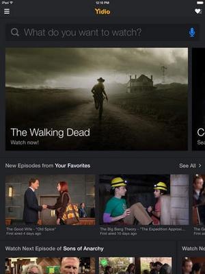 Screenshot Yidio on iPad