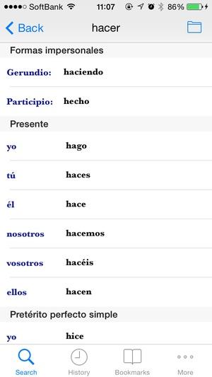 Screenshot Collins Spanish Dictionary on iPhone