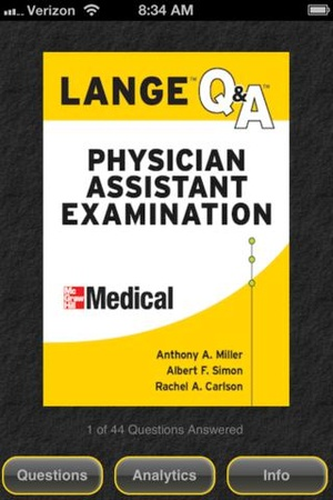 Screenshot Physician Assistant LANGE Q&A on iPhone