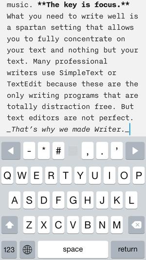 Screenshot iA Writer on iPhone