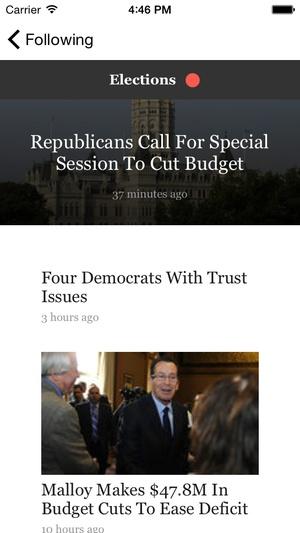Screenshot Hartford Courant on iPhone