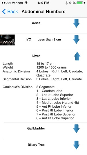 Screenshot Sonograpy Cheat Sheet: Abdominal on iPhone