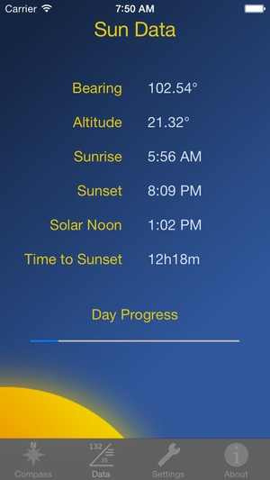 Screenshot Sun Angles on iPhone