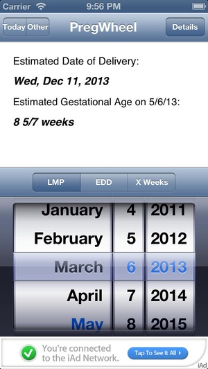 Screenshot Preg Wheel on iPhone