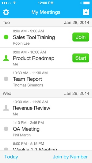 Screenshot Cisco WebEx Meetings on iPhone