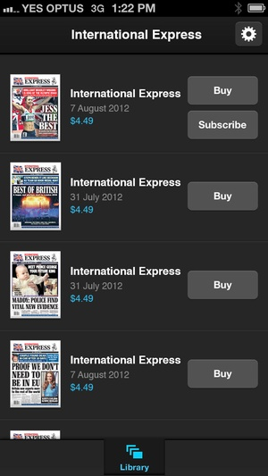 Screenshot Int'l Express on iPhone
