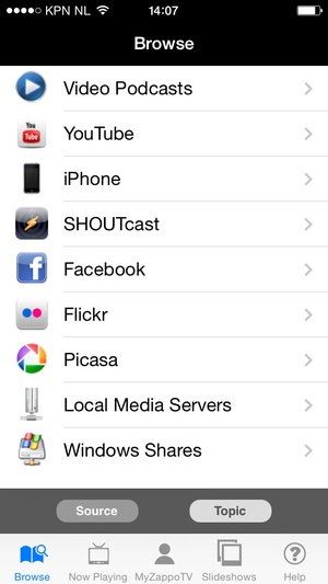 Screenshot LG TV Media Player on iPhone