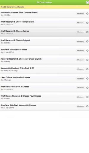 Screenshot EZ Food Lookup on iPhone