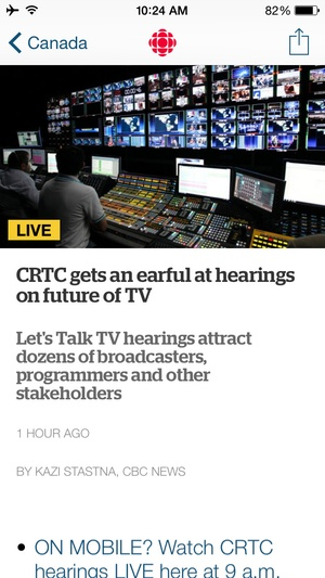 Screenshot CBC News on iPhone