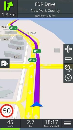 Screenshot GPS navigation BE on iPhone