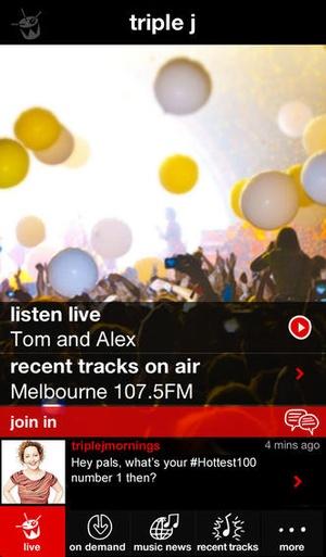 Screenshot triple j on iPhone