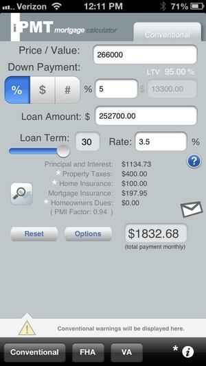 Screenshot iPMT Mortgage Calculator on iPhone