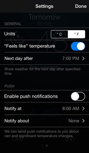 Screenshot Weather Alert with notifications on iPhone