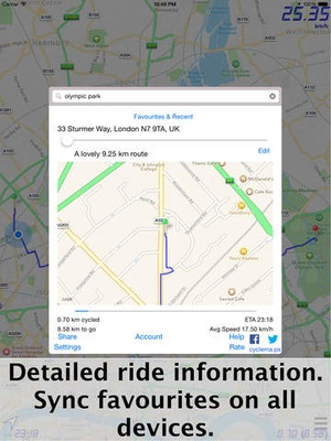 Screenshot CycleMaps: Cycling Route Planner & Navigator on iPad