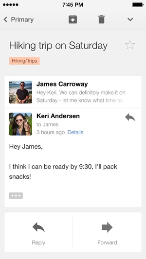 Screenshot Gmail on iPhone