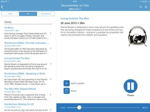 Screenshot RTÉ Radio Documentary on One on iPad
