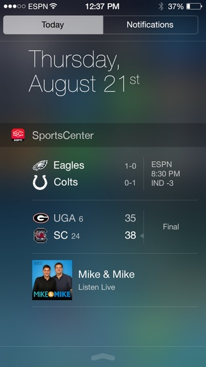 Screenshot ESPN SportsCenter on iPhone
