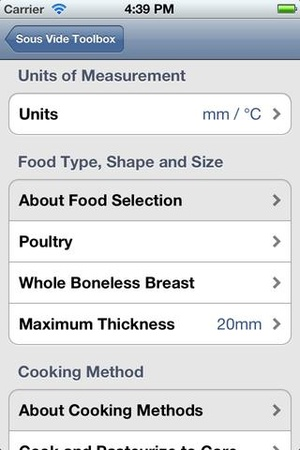 Screenshot PolyScience Sous Vide Toolbox on iPhone