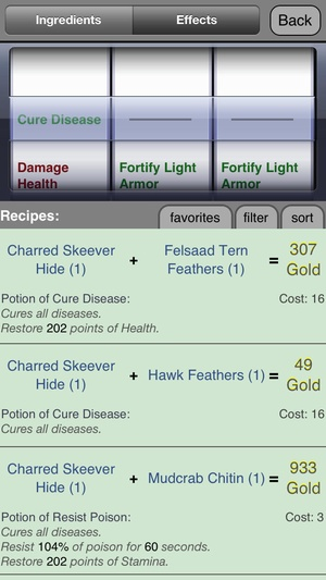 Screenshot Alchemy in Skyrim ® on iPhone