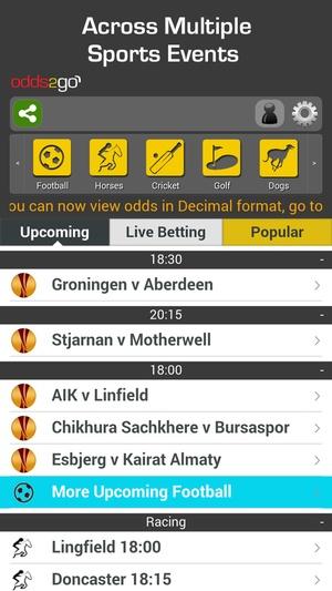 Screenshot Odds2Go Sports Betting App on iPhone