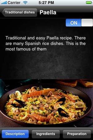 Screenshot Tapas Recipes on iPhone