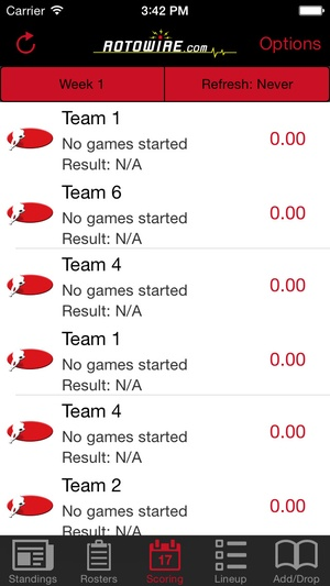 Screenshot RT Sports Football Manager 2015 by RotoWire on iPhone