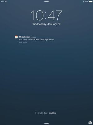 Screenshot MyCalendar Mobile on iPad