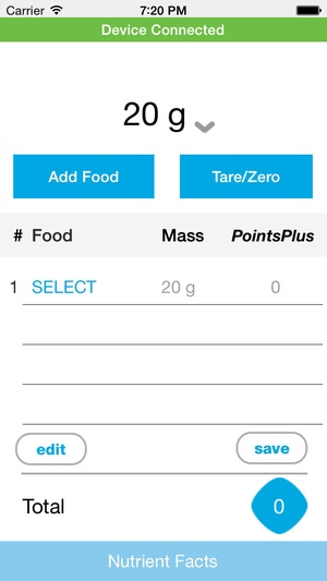 Screenshot Weight Watchers Smart Food Scale on iPhone