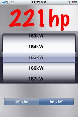 Screenshot hp kW Converter on iPhone