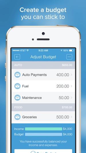 Screenshot Mvelopes on iPhone