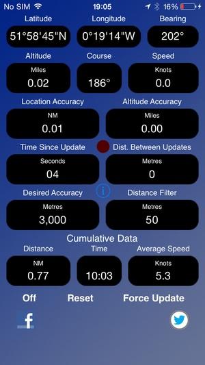 Screenshot GPS Device Data on iPhone