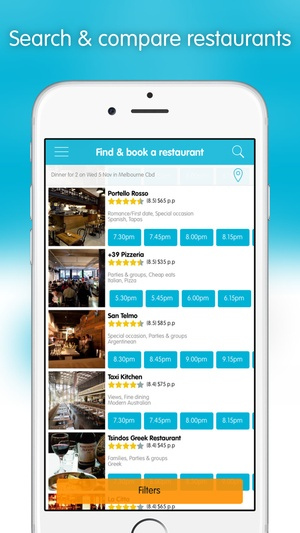 Screenshot Dimmi: Reserve the moment (online restaurant reservations) on iPhone