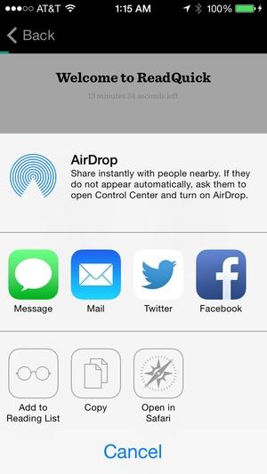 Screenshot ReadQuick on iPhone