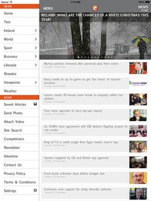 Screenshot Irish Examiner on iPad