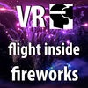 VR Fireworks Drone Flight in the middle