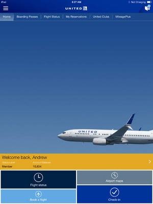 Screenshot United Airlines on iPad
