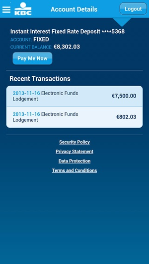 Screenshot KBC Ireland Mobile Banking on iPhone