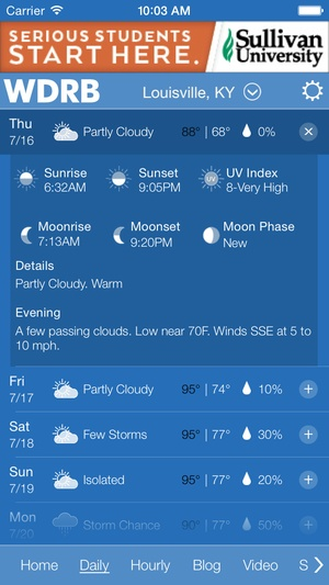 Screenshot WDRB Weather App on iPhone