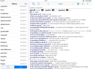 Screenshot Collins Spanish Dictionary on iPad