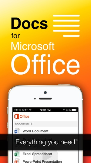 Screenshot Full Docs for Microsoft Office, Word, Excel, PowerPoint, Outlook & OneNote on iPhone